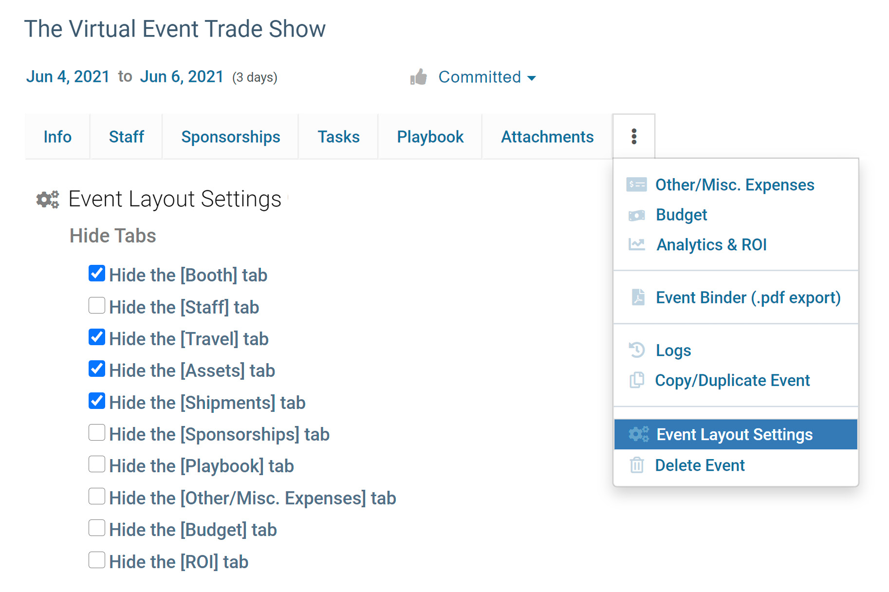 Customize Layout for Virtual Events